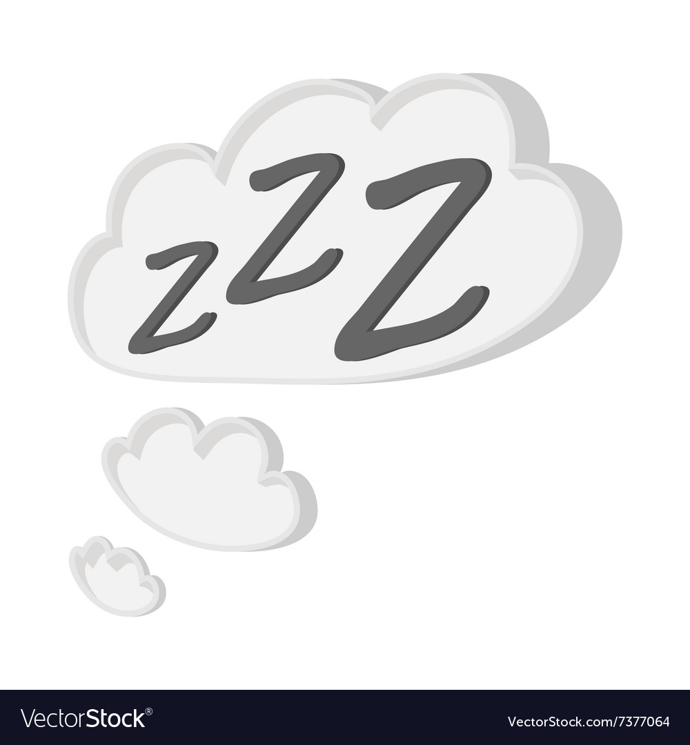 White cloud with ZZZ cartoon icon vector image