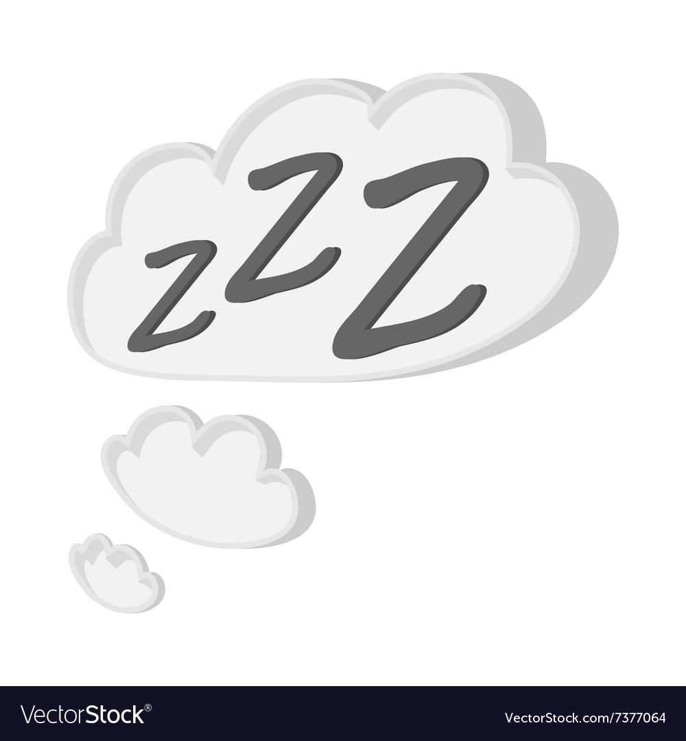 White cloud with ZZZ cartoon icon