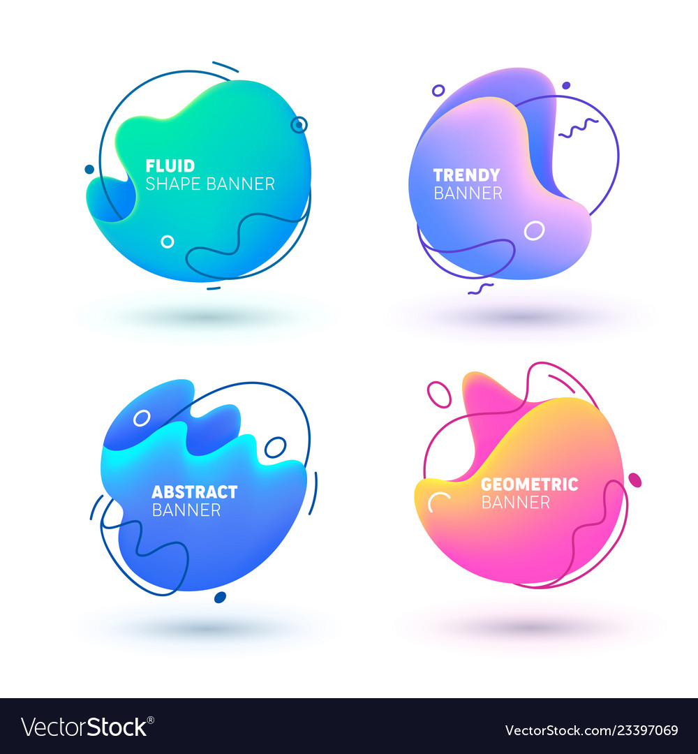 Abstract fluid trendy gradient banner design shape