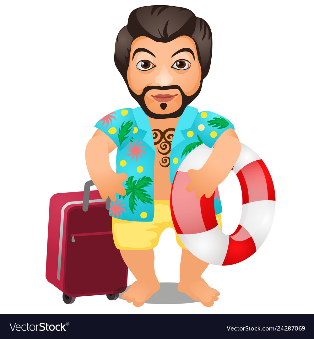 Animated male tourist with a suitcase and a