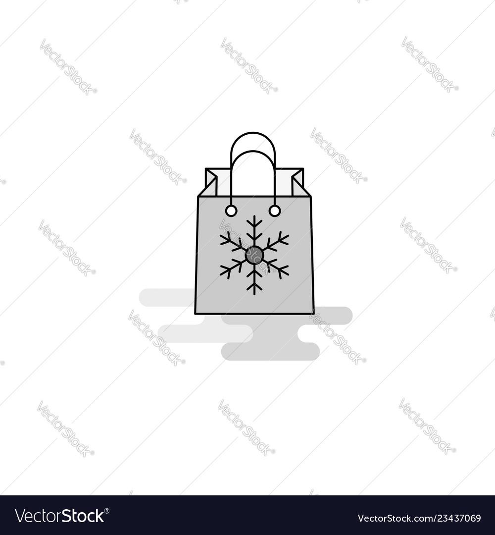 Christmas shopping bag web icon flat line filled