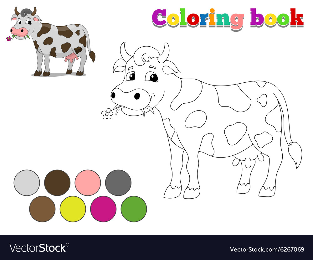 Coloring book cow kids layout for game vector image