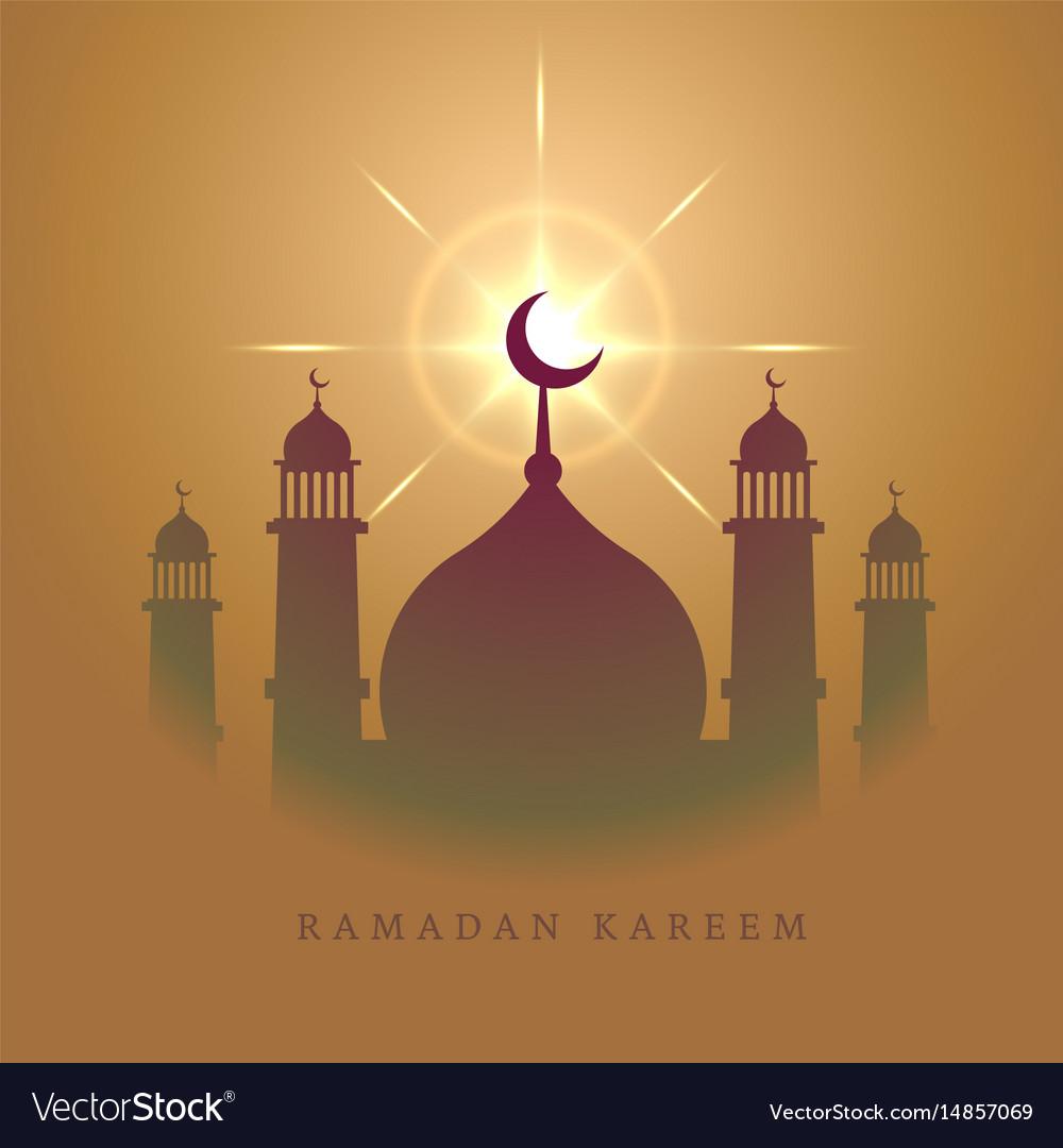 Elegant mosque design for eid mubarak festival vector image