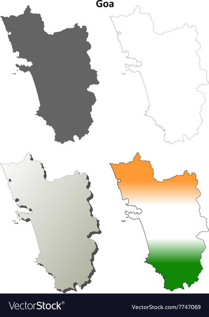 Goa blank detailed outline map set Royalty Free Vector Image