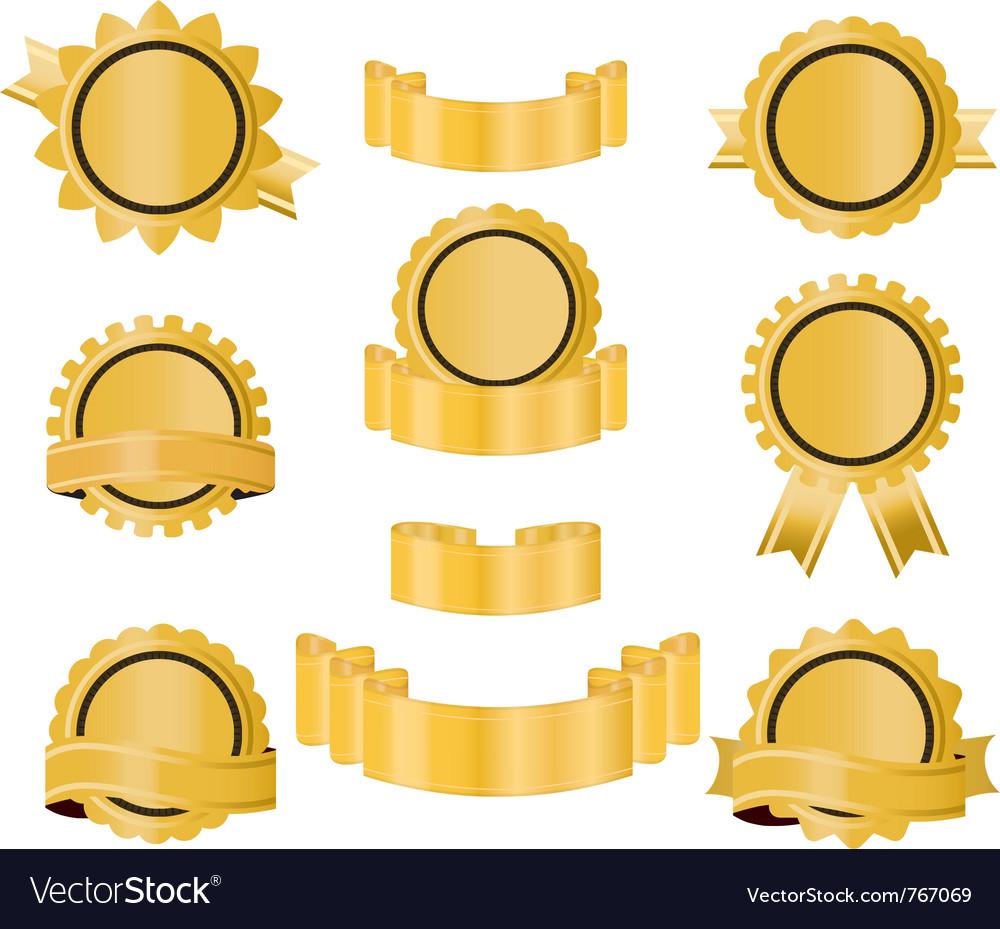 Golden seal ribbon vector image