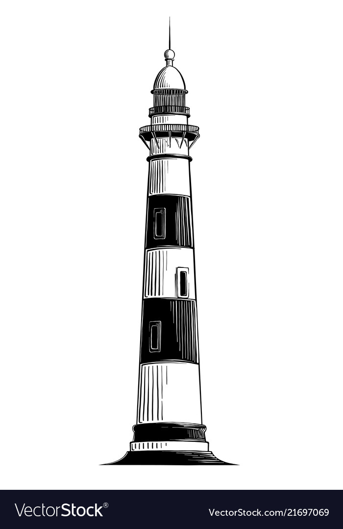 Hand drawn sketch of lighthouse in black isolated