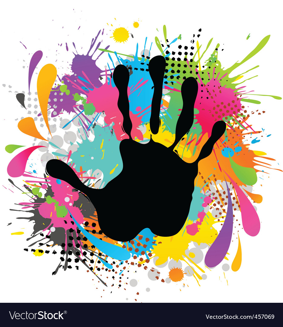 hand print and paint royalty free vector image