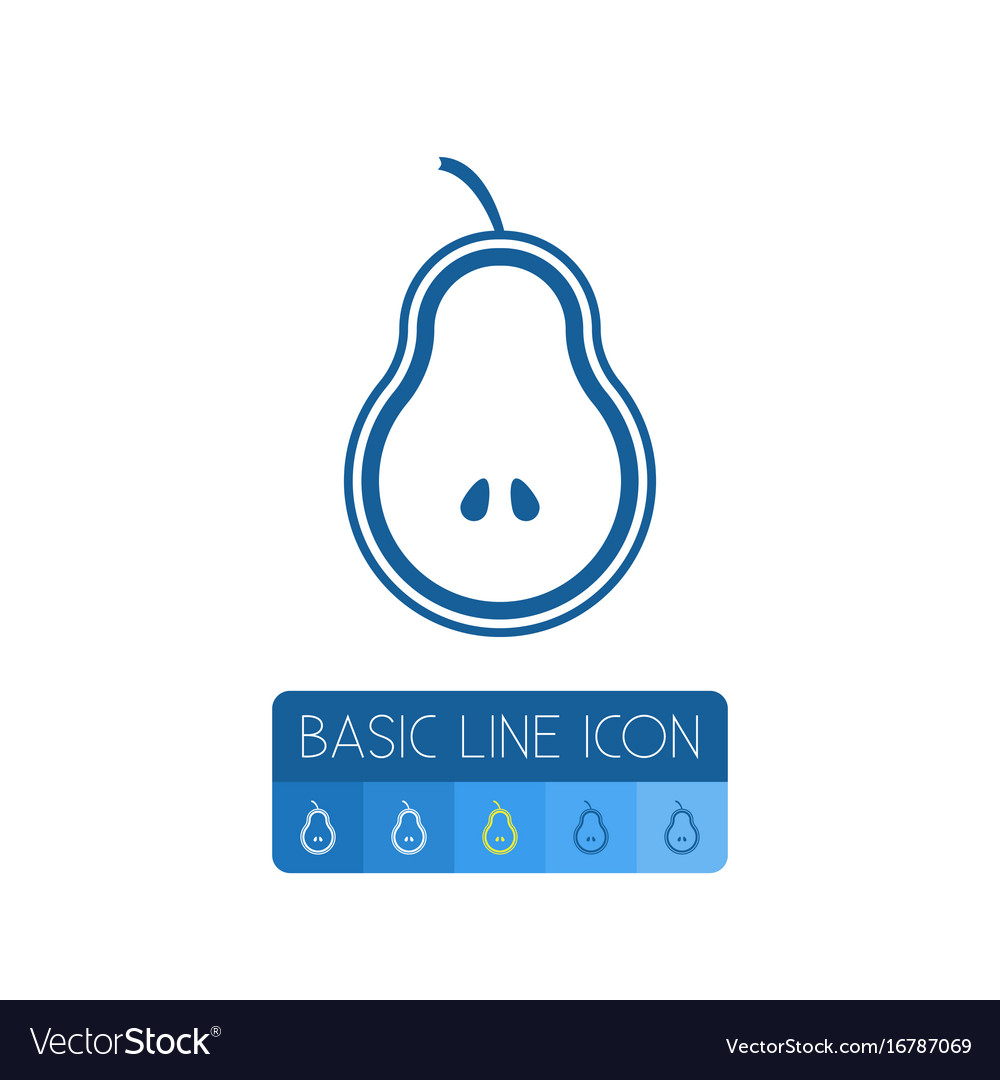 Isolated fruit outline pear element can be