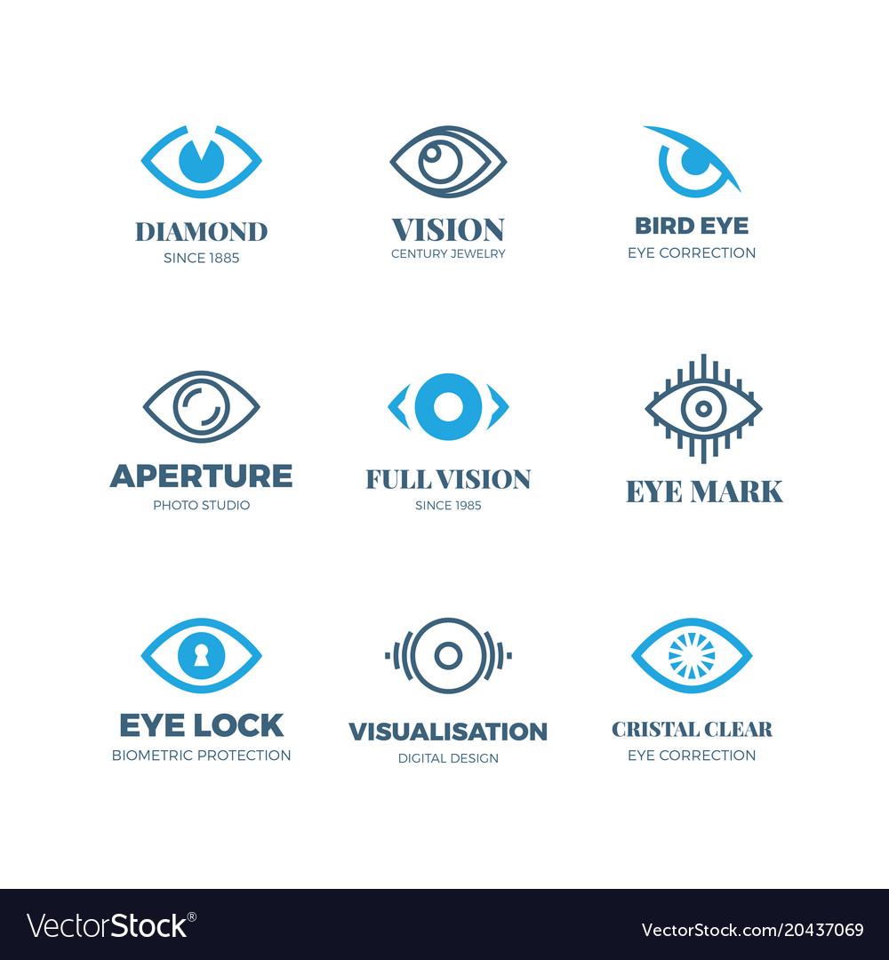 Magic Eye Logos Mysterious Sight Symbols Vision Vector Image