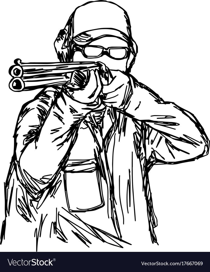 Man shooting double barrel shotgun