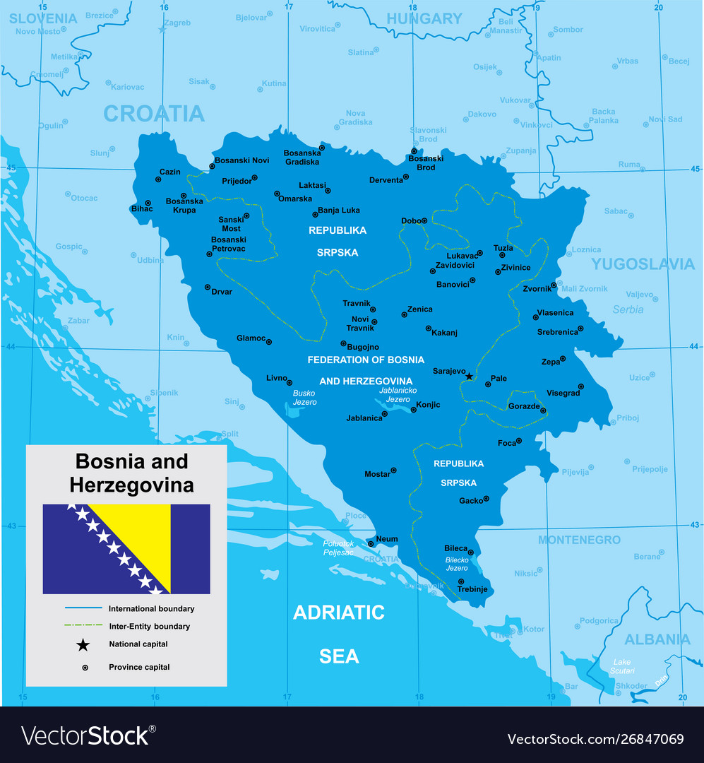 Picture of: Map Bosnia And Herzegovina Royalty Free Vector Image