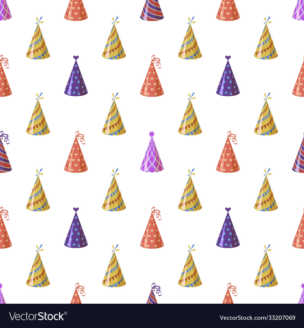 Party caps seamless pattern bright multicolor
