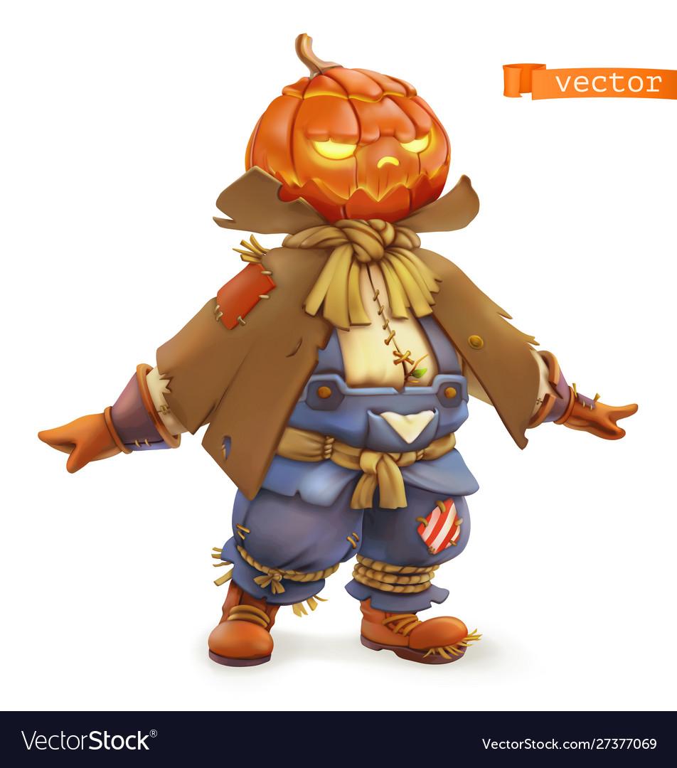 Pumpkin scarecrow happy halloween 3d cartoon