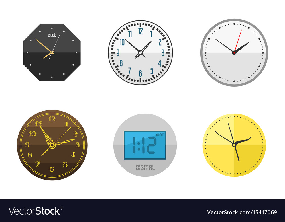 Wall clock circle sign with chronometer pointer vector image