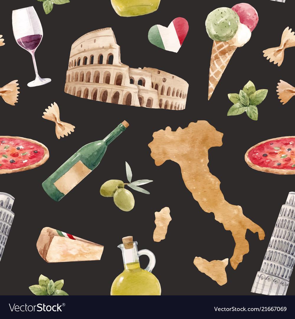 Watercolor italian pattern