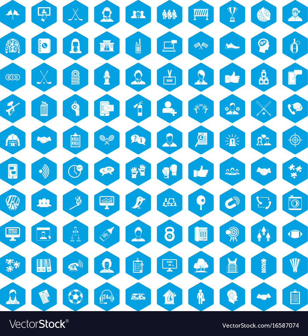 100 team icons set blue vector image