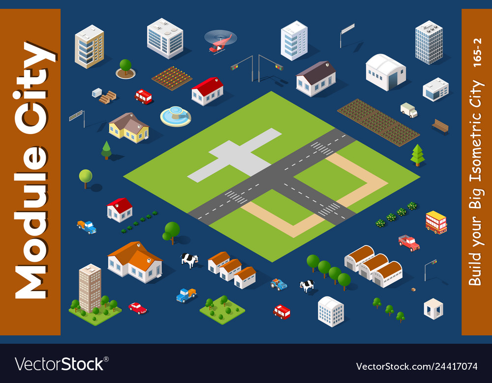 A set of isometric houses
