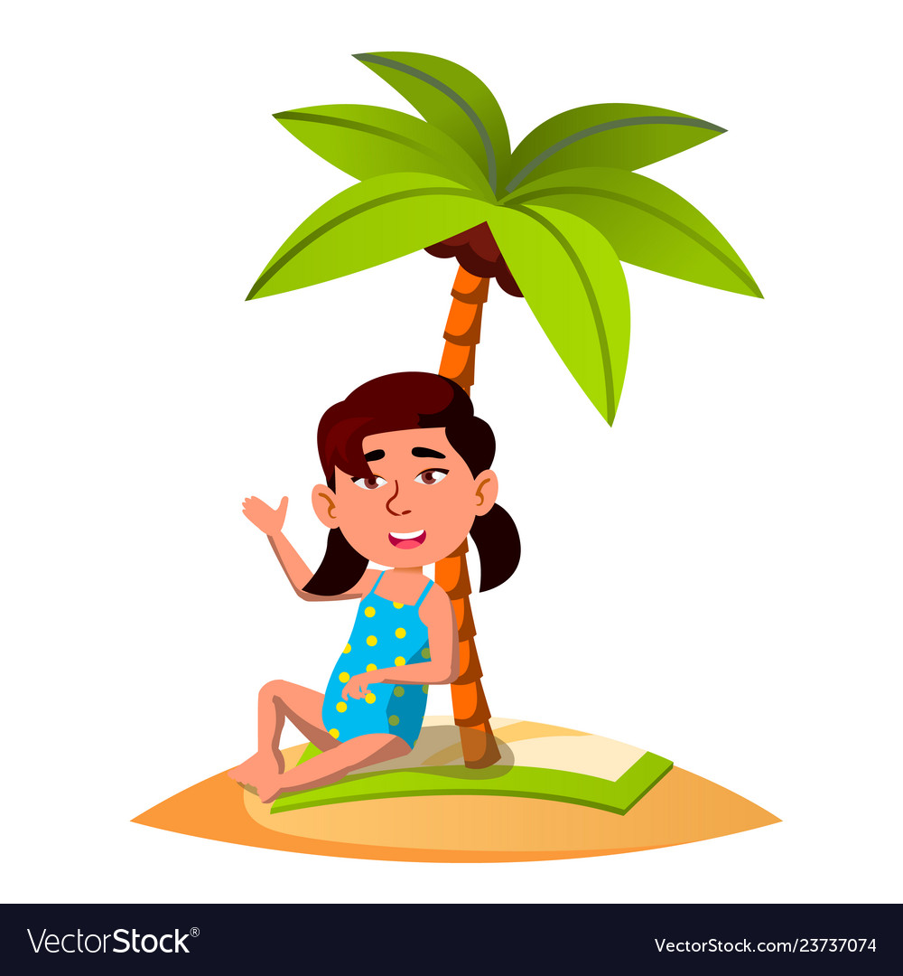 Asian child sitting on the sand on the beach under