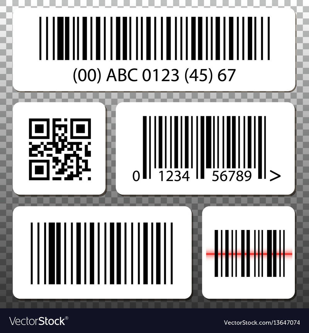 Barcode and qr code stickers template set