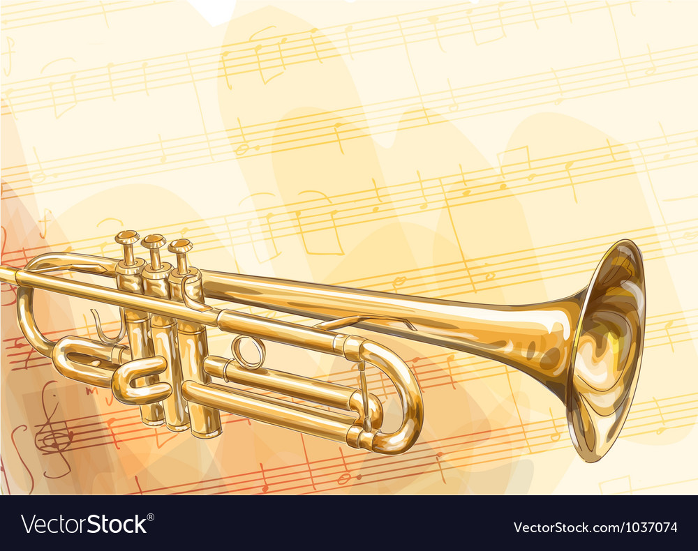 Brass Trumpet on musical background