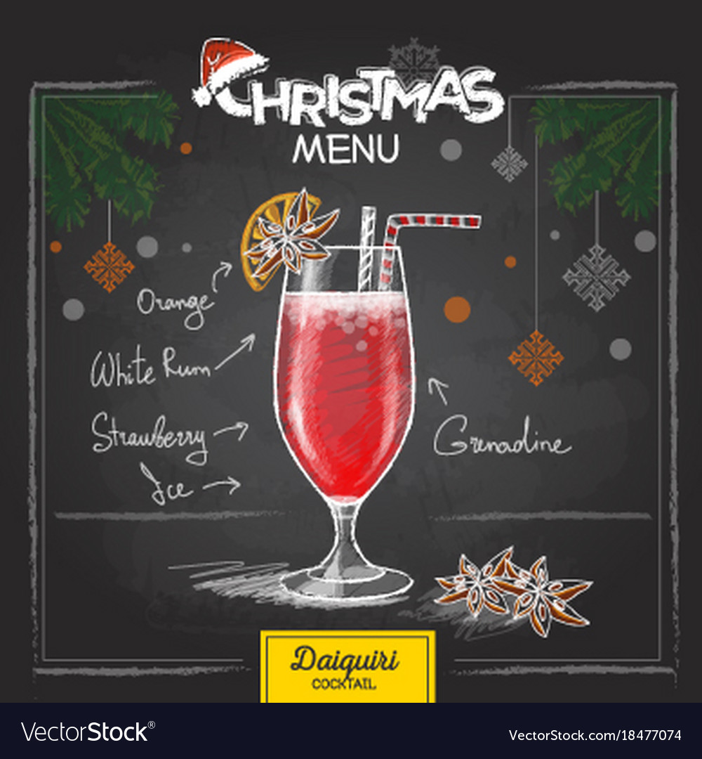 chalk drawing christmas cocktail menu design vector image