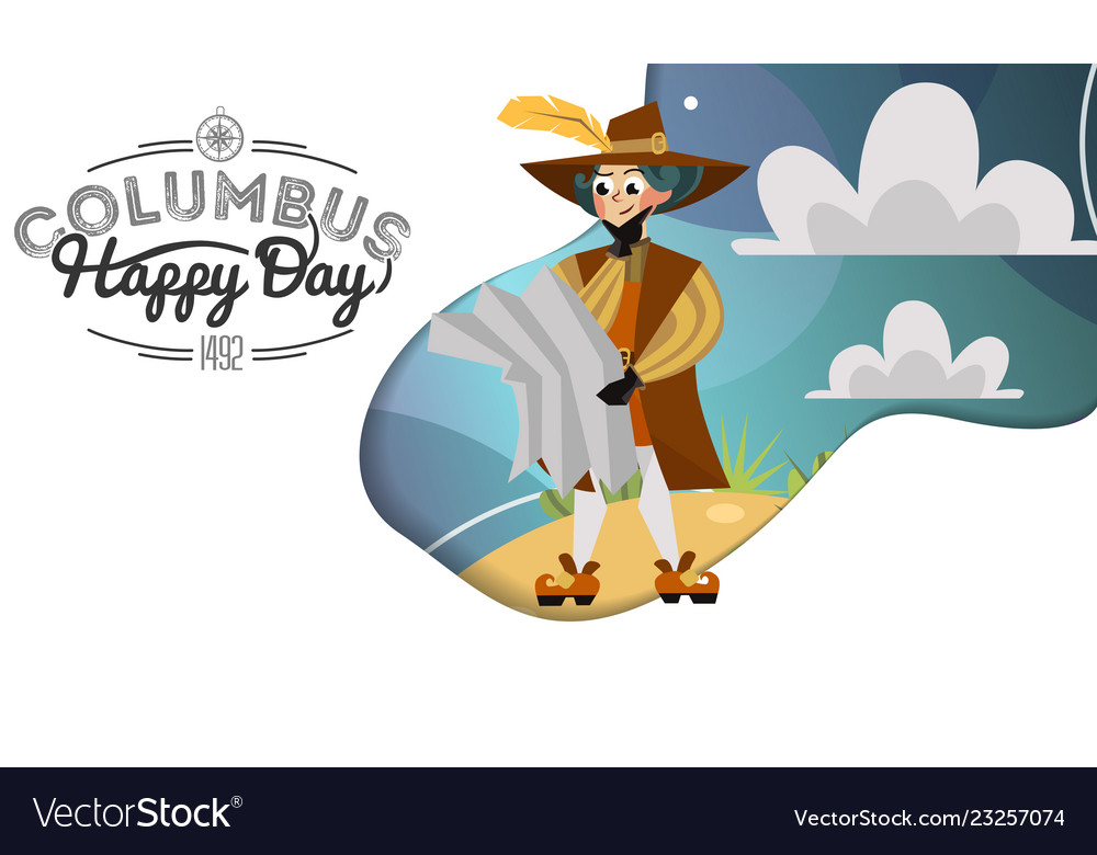 Happy columbus day greeting or invitation greeting