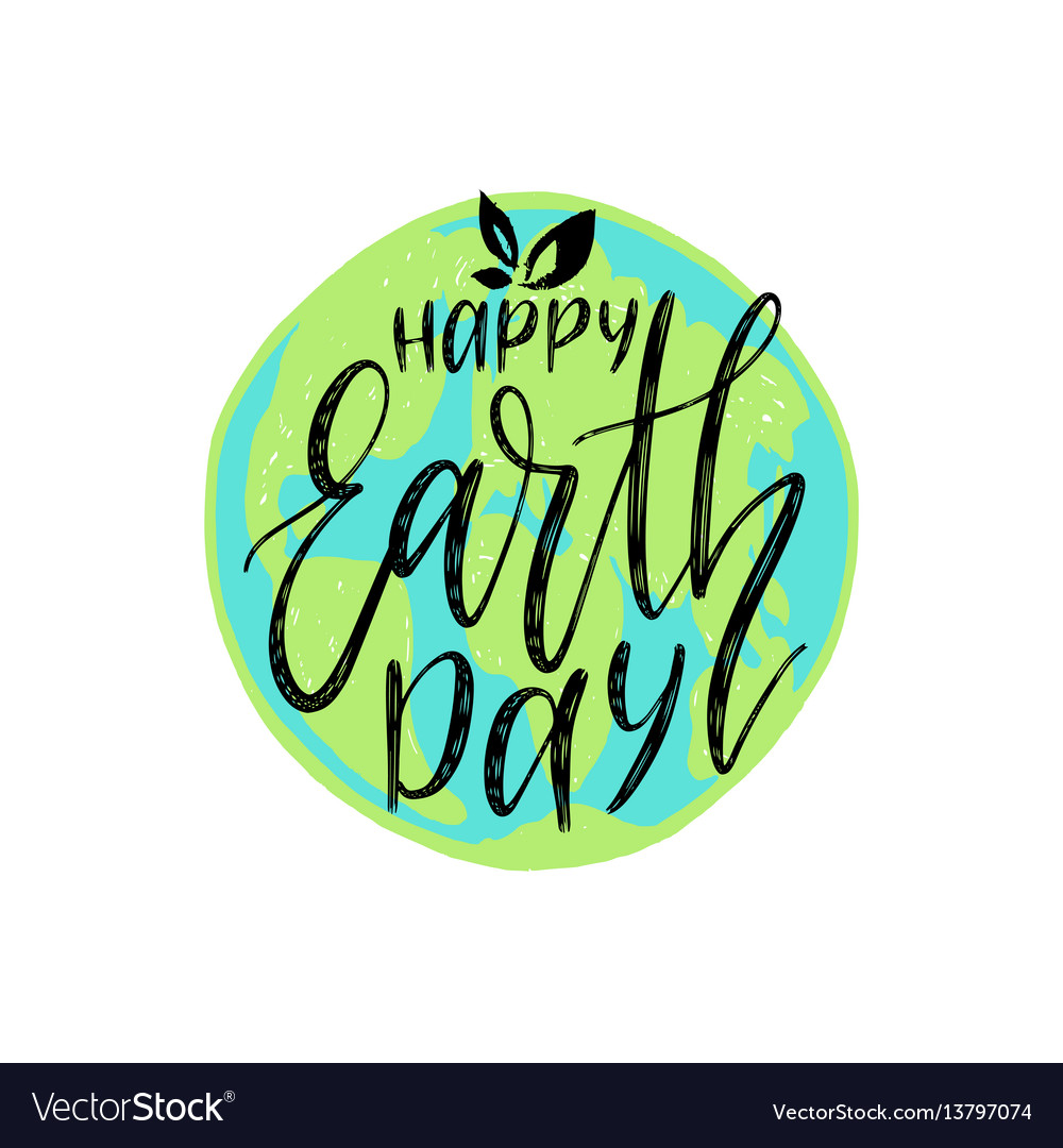 Happy earth day hand lettering on globe map