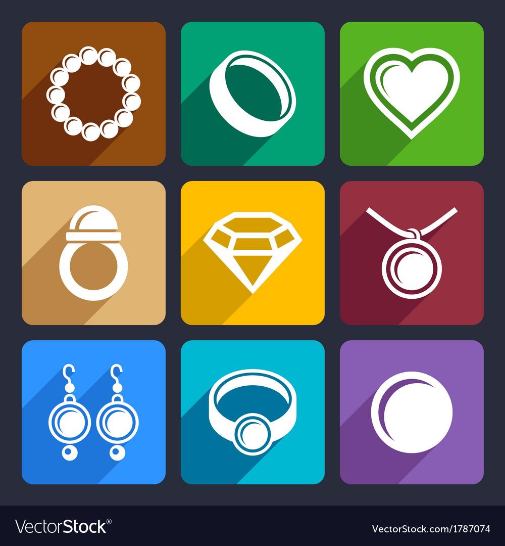 Jewelry flat Icons set 33