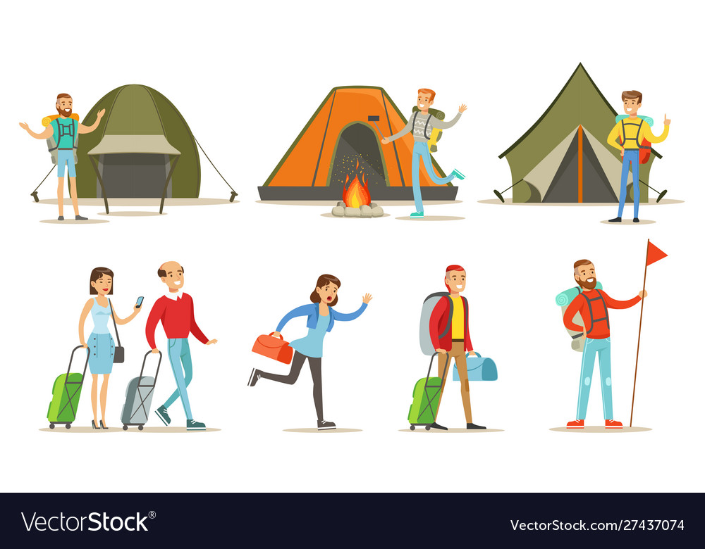 People going on summer vacation set backpackers