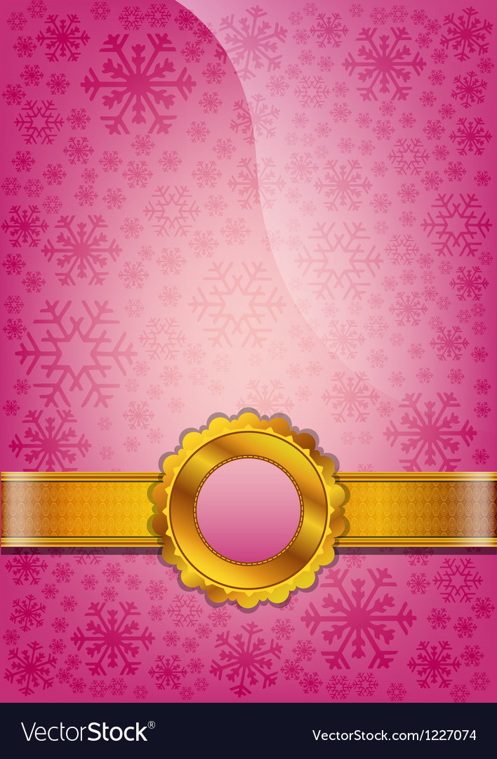 Pink decorated paper with abstract snowflakes vector image