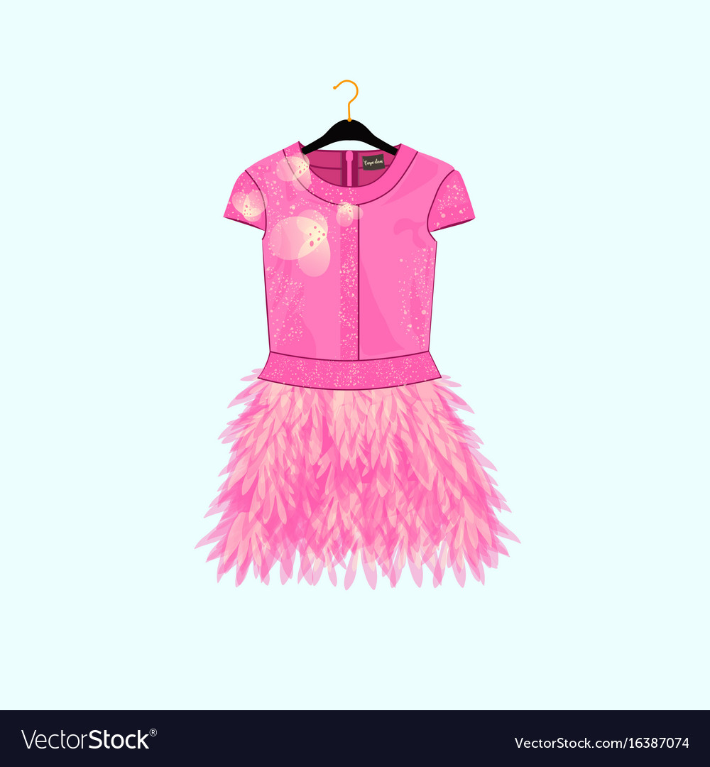 Pink party dress with feather decor