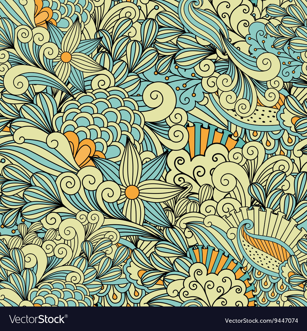 Pretty Yellow And Blue Background Made Of Patterns Vector Image