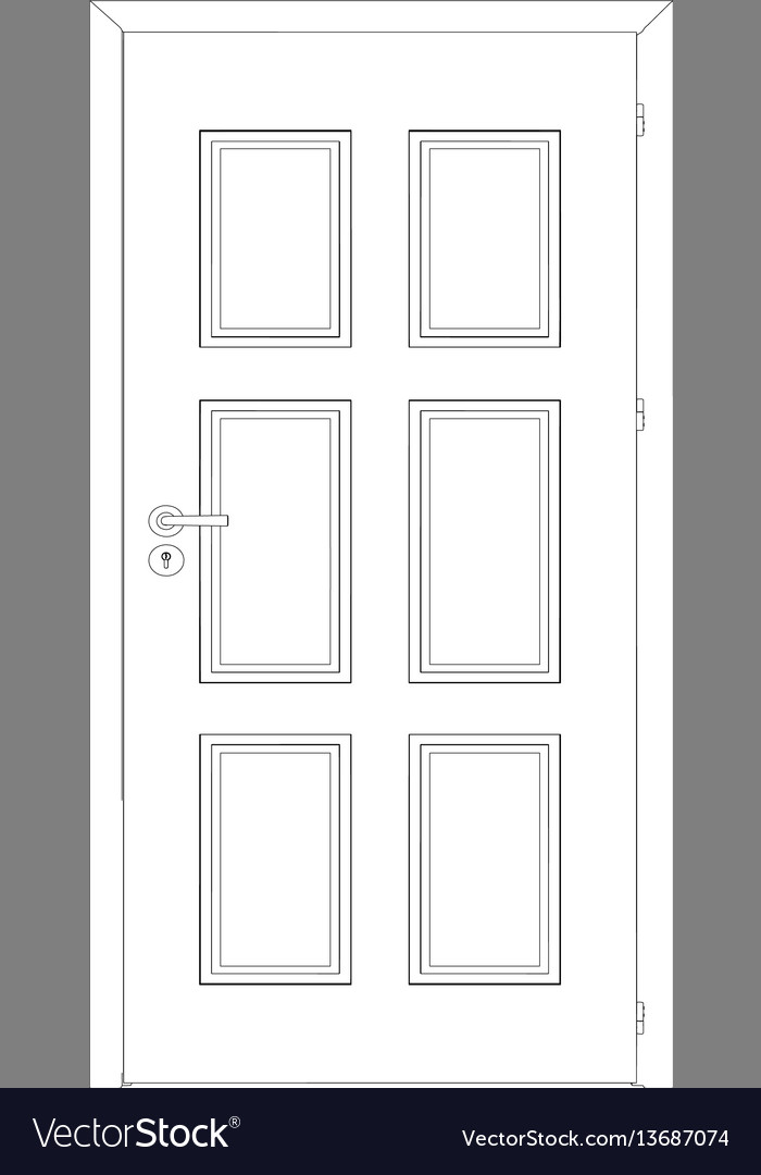Sketch of closed wire-frame door vector image