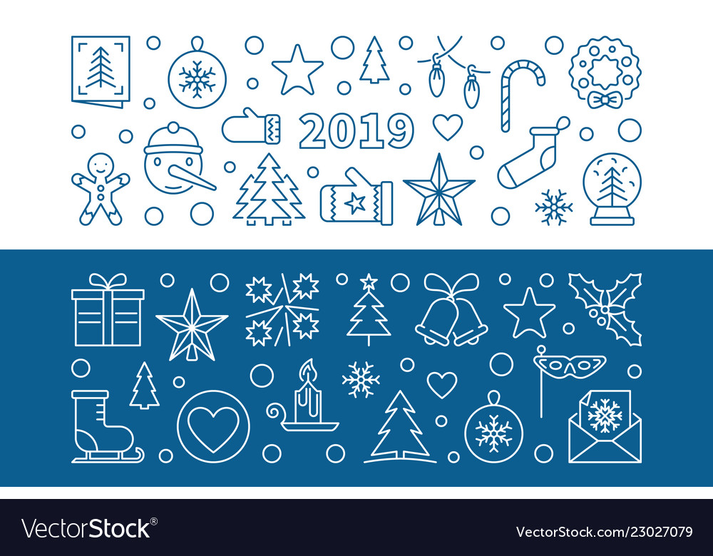 2019 new year set of 2 blue outline banners