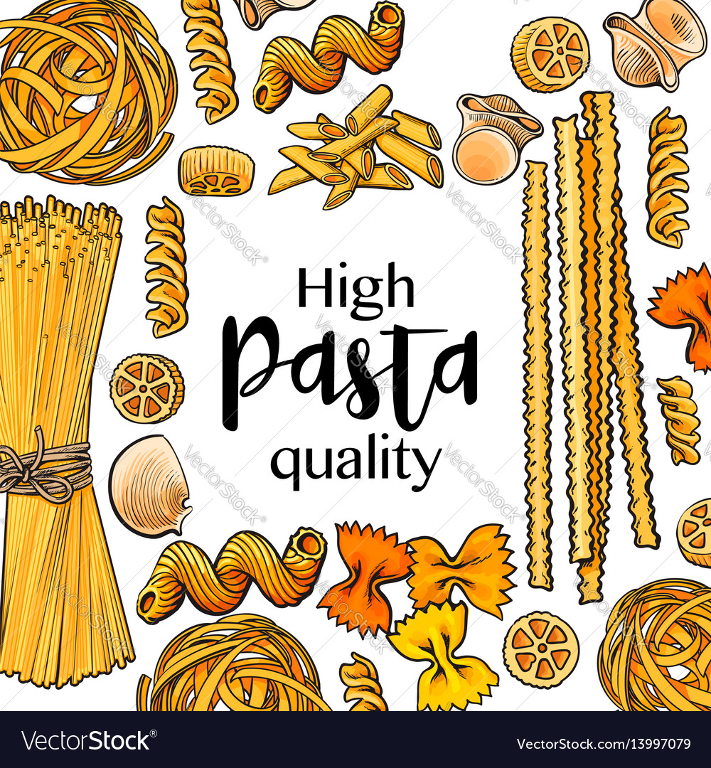 Banner framed with uncooked italian pasta with