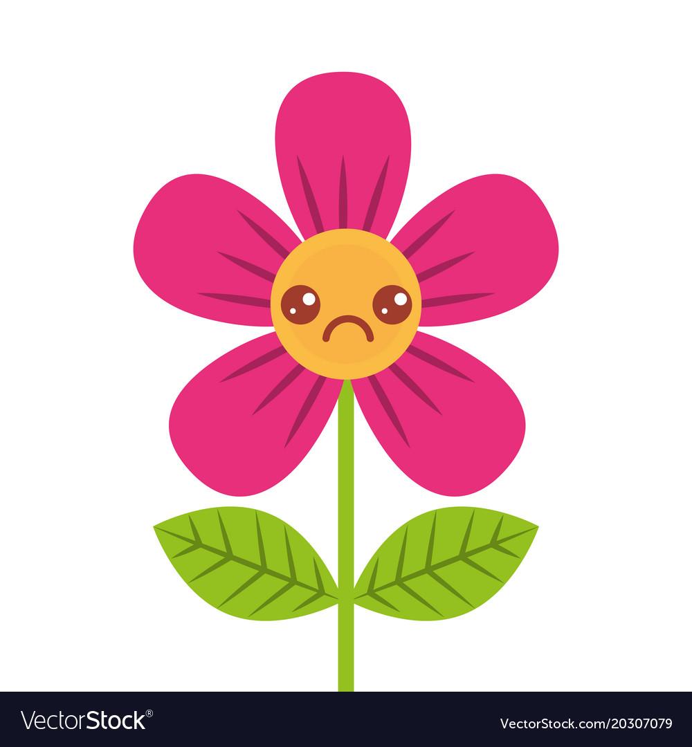 Beautiful Sad Flower Kawaii Cartoon Royalty Free Vector