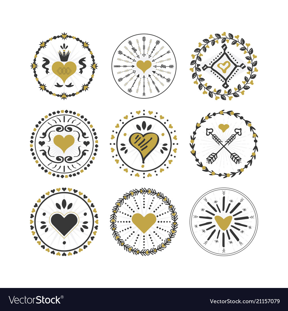 Black and golden circle hearts emblems and stamps