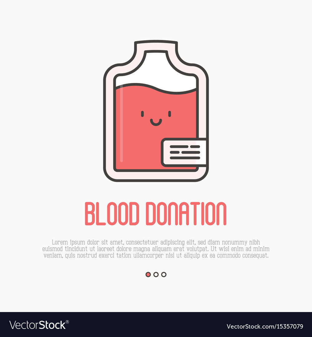 Blood donation concept thin line blood bag icon