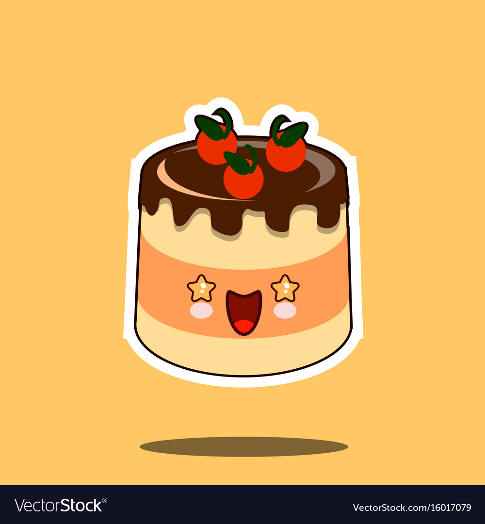 Cake kawaii character cartoon tart emoticon face