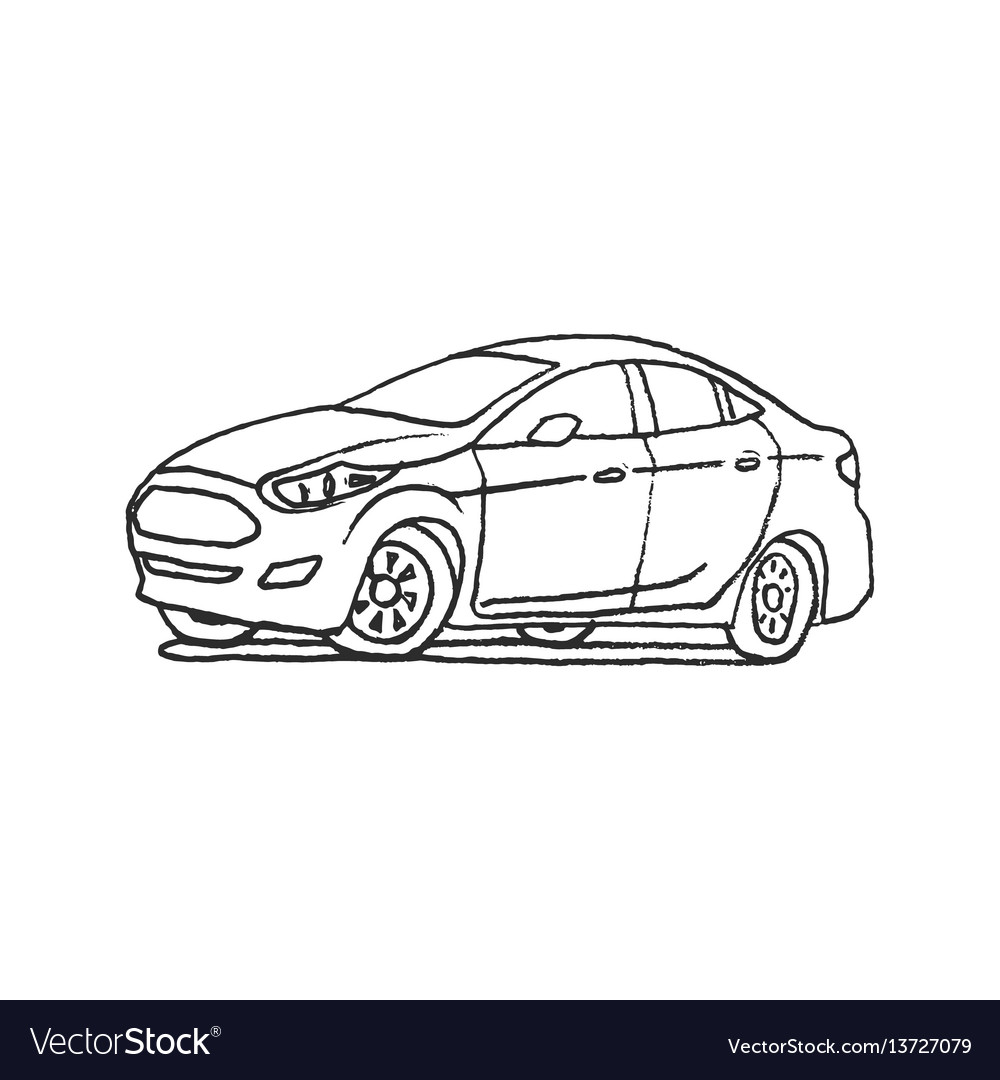 Car hand drawn outline cartoon doodle