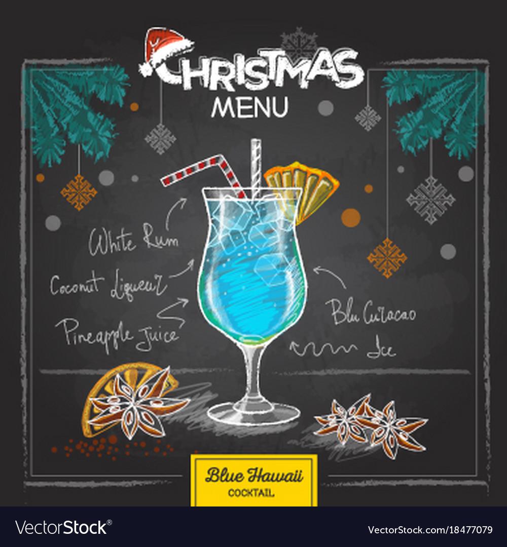 Chalk drawing christmas cocktail menu design