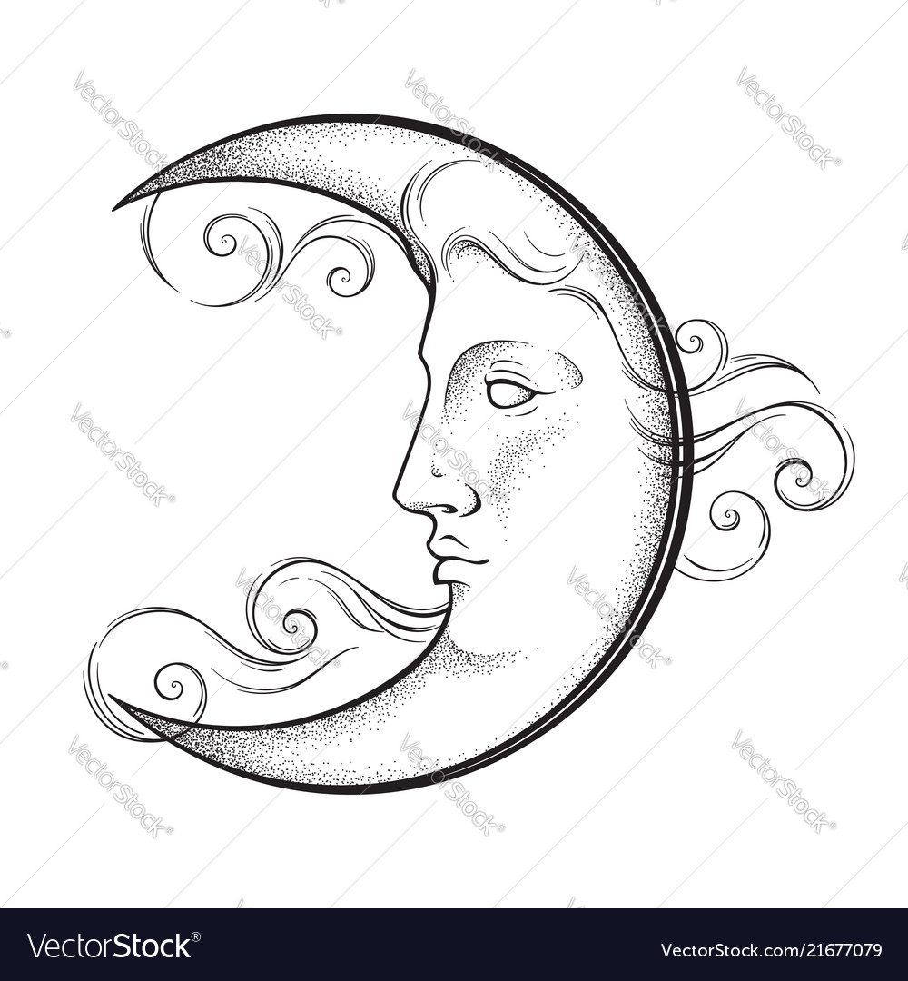Crescent moon with face in antique style