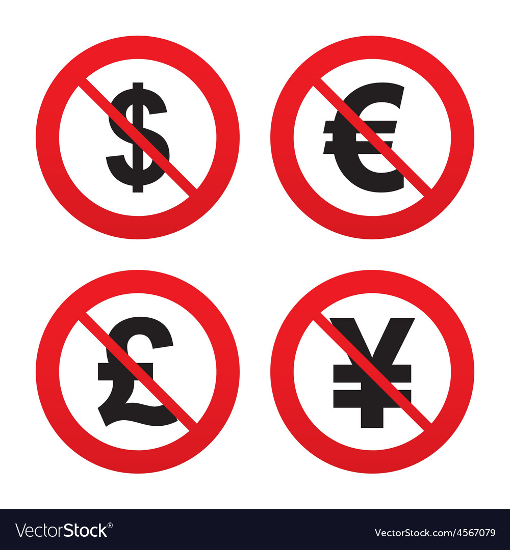 Dollar Euro Pound And Yen Currency Icons Vector Image