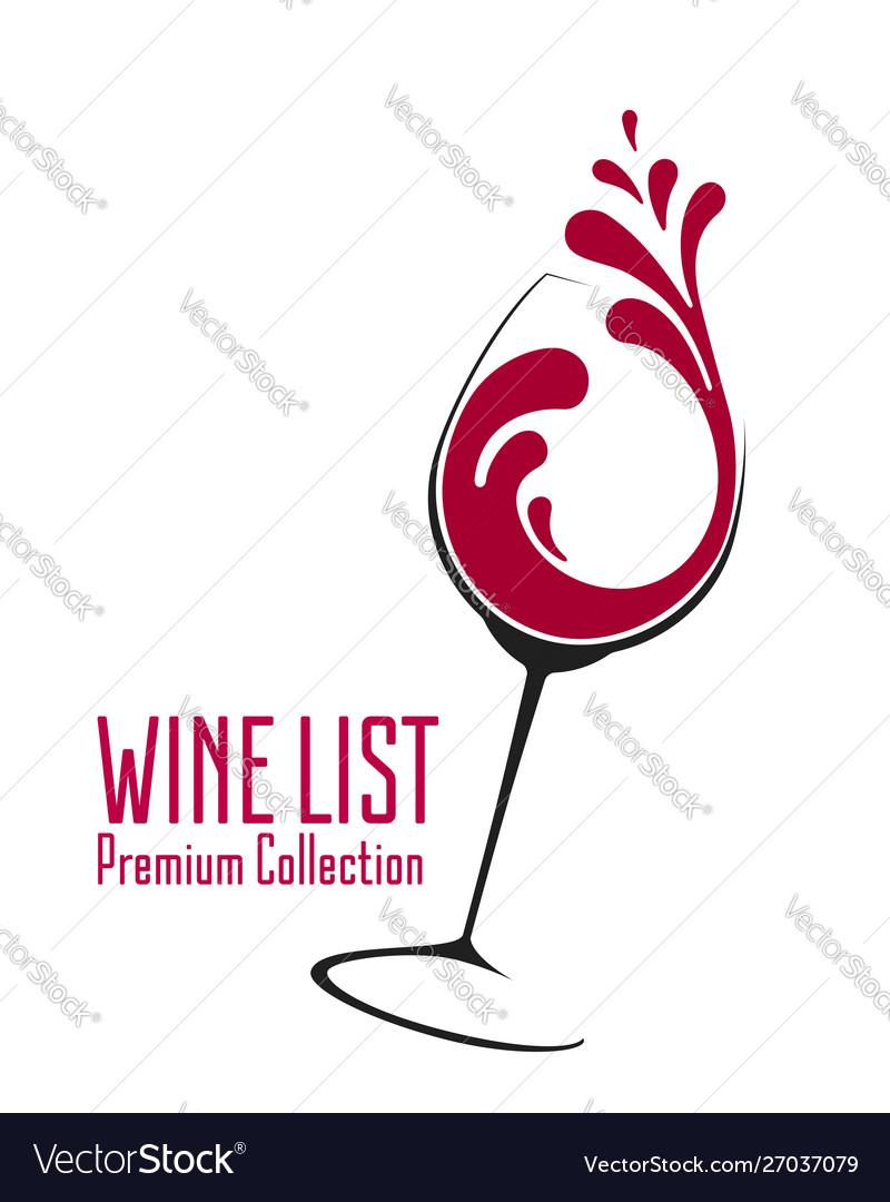 Glass wine with splash logo design