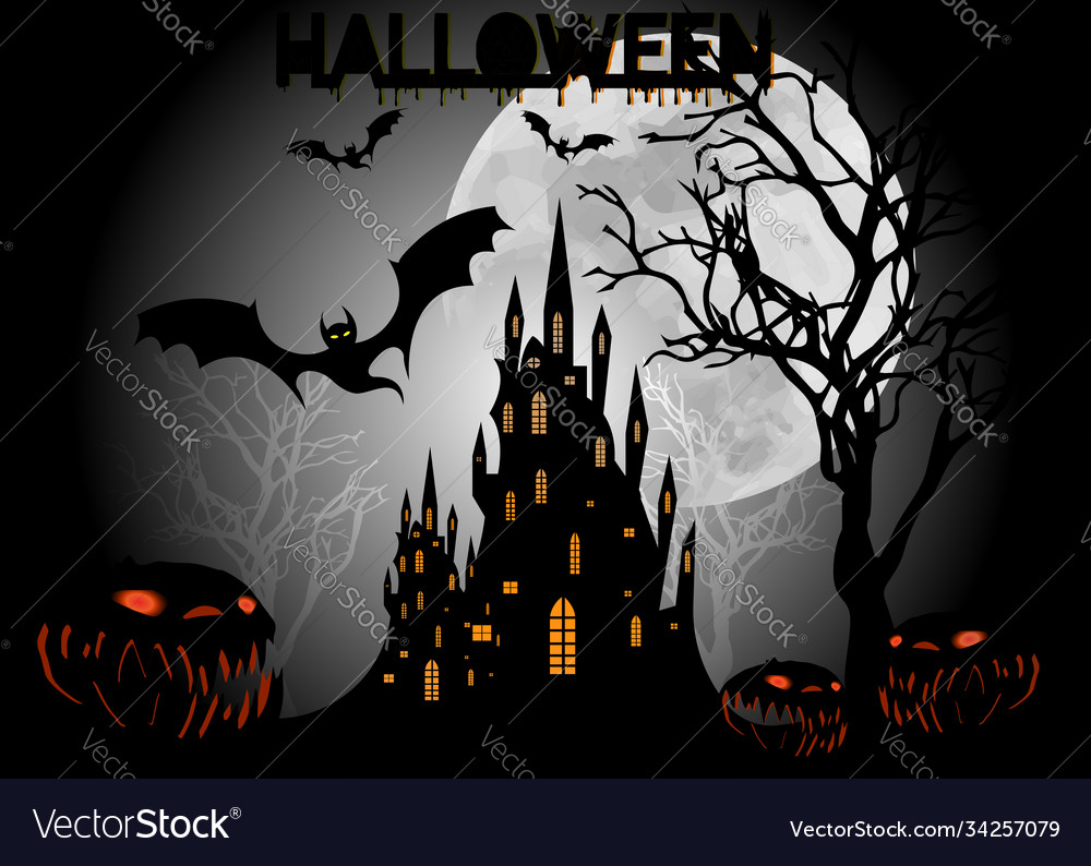 Halloween party bats with gothic haunted castle