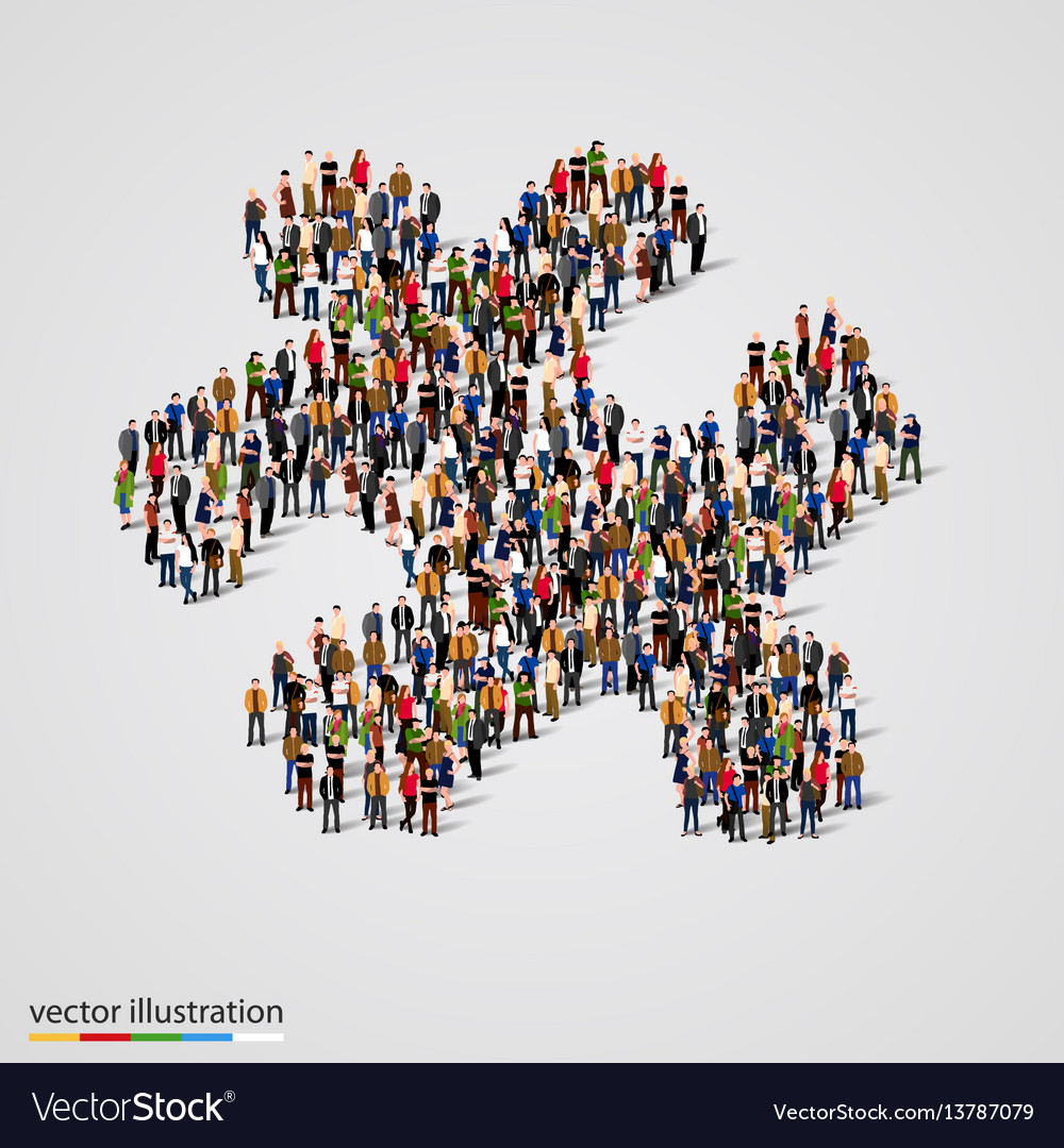 Large group of people forming the puzzle shape