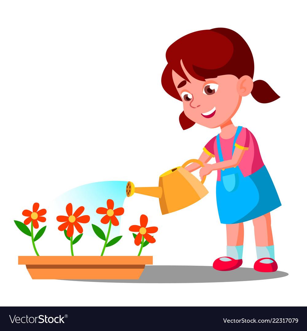 Little girl watering flowers help