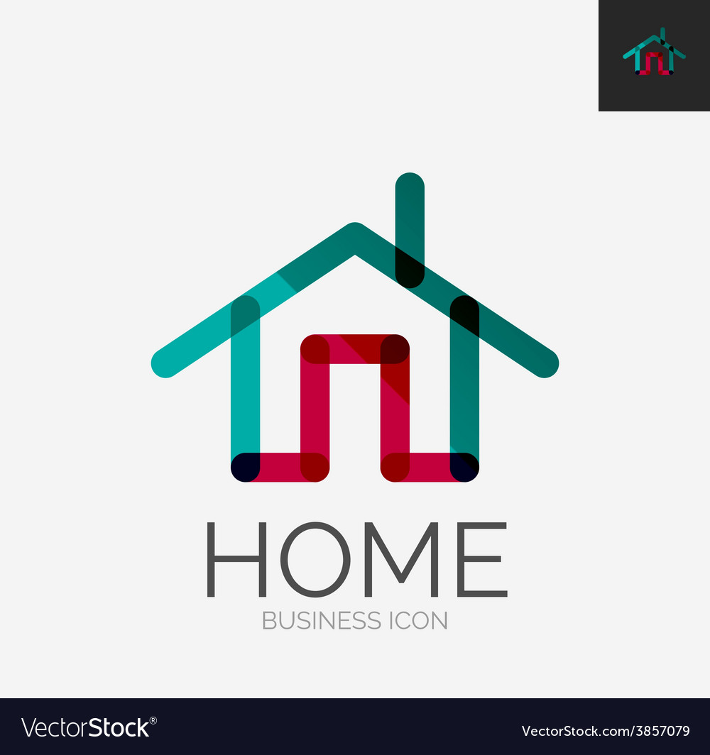 Minimal line design logo home icon