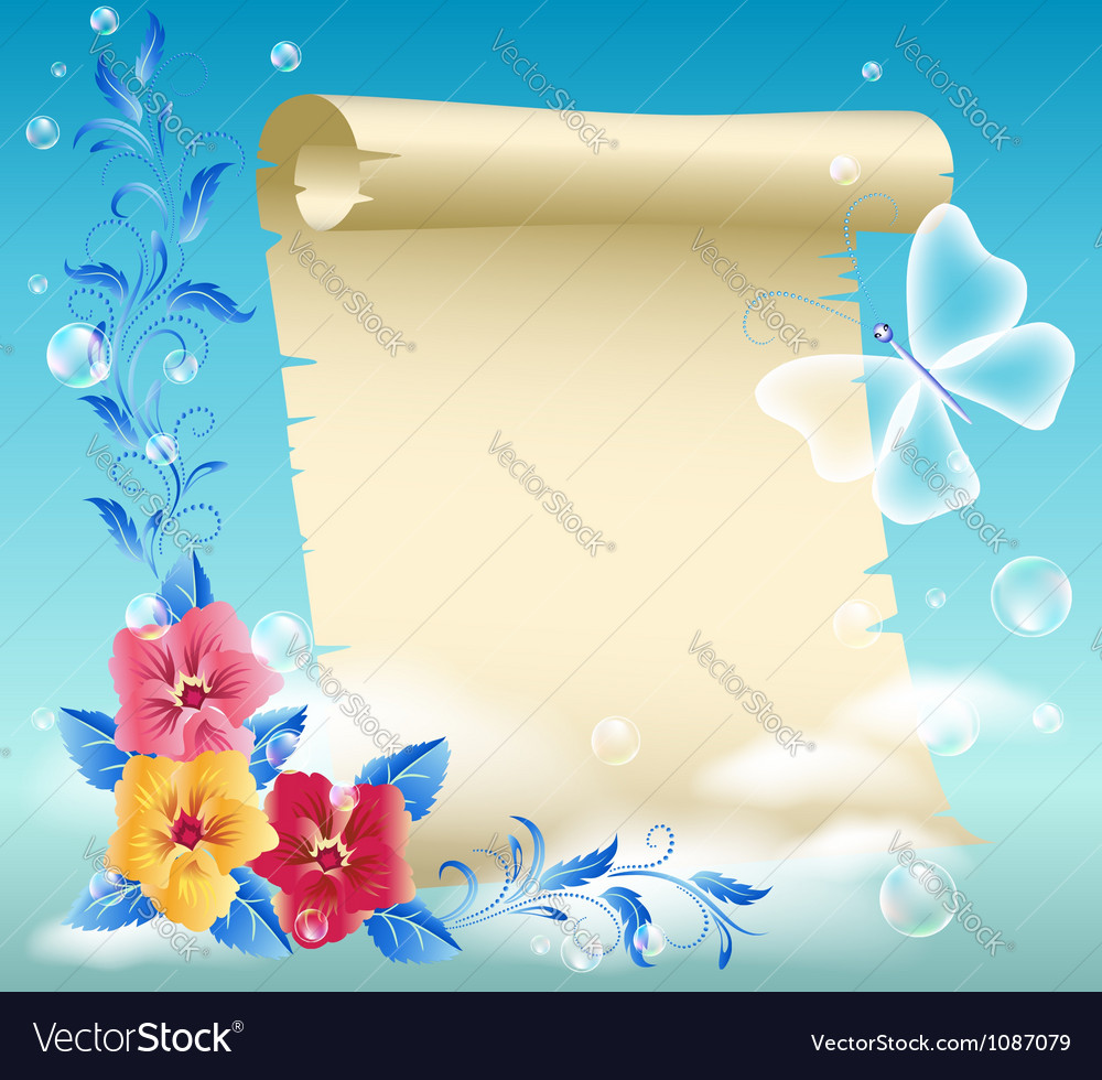 Parchment And Flowers Royalty Free Vector Image