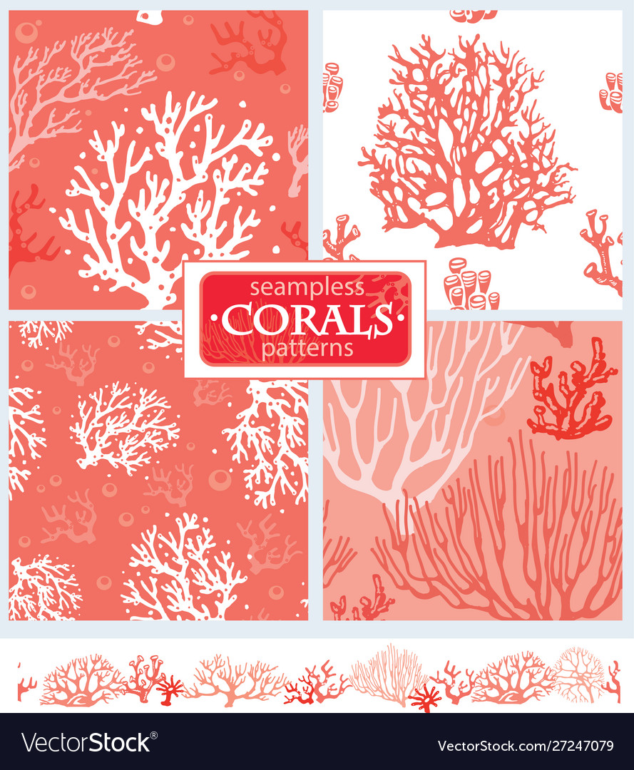 Set corals seamless patterns